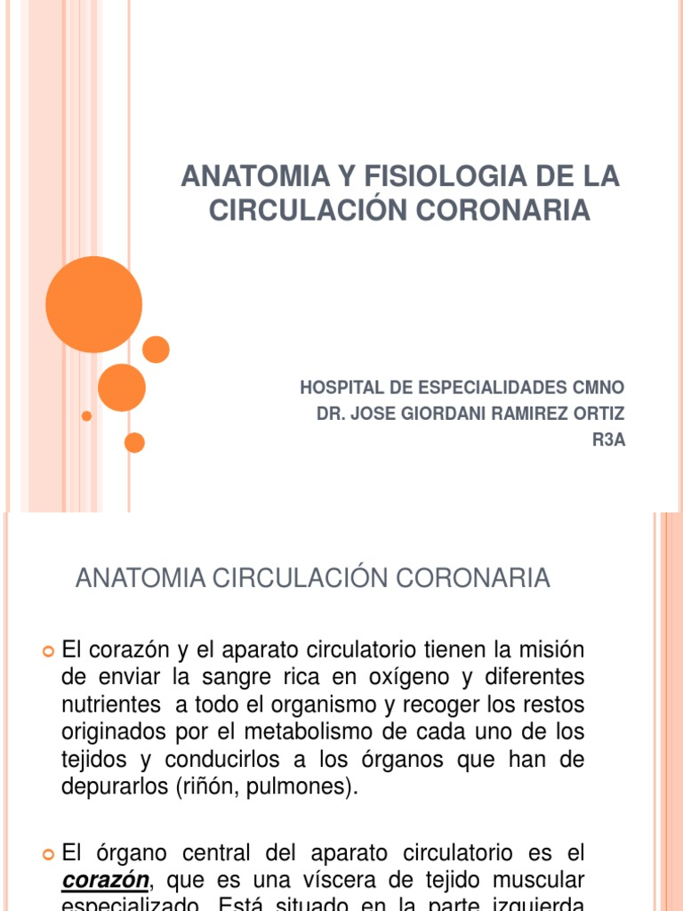 ANATOMIA Y FISIOLOGIA DE LA CIRCULACIÓN CORONARIA