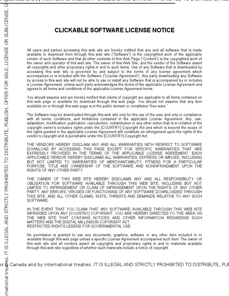 Clickable Software License Noticedragon W Copyright