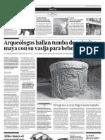 Arqueólogos hayan tumba de príncipe Maya con su vasija para beber intacta