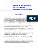 A Brief Review of the Historical US Government Surplus-Receipts Relation