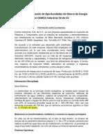 Reporte preliminar de evaluación de oportunidades de reducción de Energía CAMCA