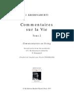 Commentaires sur la Vie, Tome 2 par J. Krishnamurti
