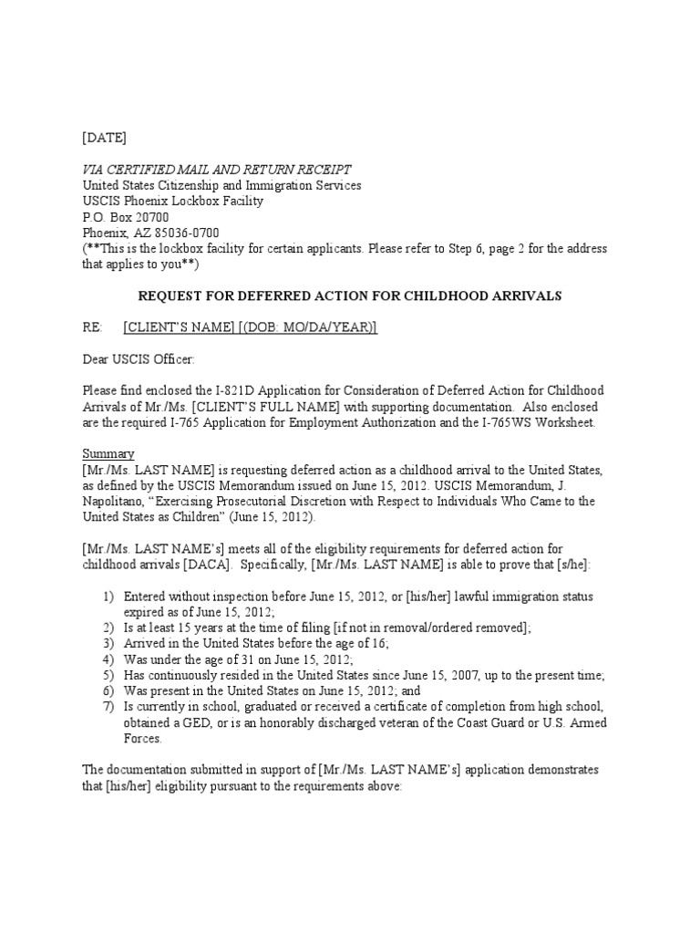 DACA Cover Letter Template – I-765 Worksheet Sample