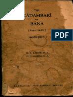 The Kadambari of Bana - Mahashweta Vritanta - Karnik , Gadgil