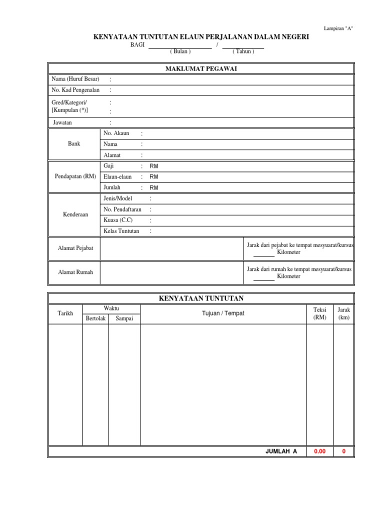 Borang Tuntutan Perjalanan Excel