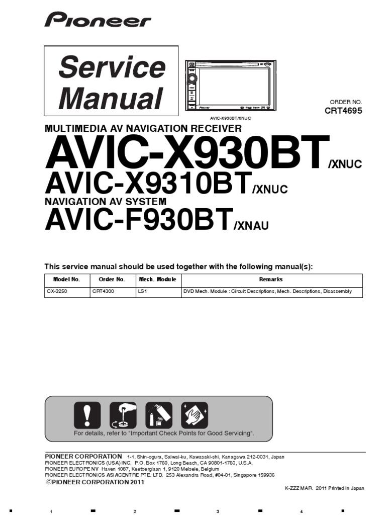 pioneer avic x930bt service manual en rh scribd com Pioneer AVIC-Z130BT Inputs Pioneer AVIC-Z130BT Wiring-Diagram