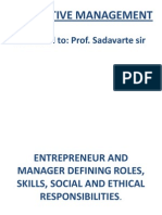 Perspective Mgmt - Entrepreneur and Manager Defining Roles, Skills, Social and Ethical Responsibilities
