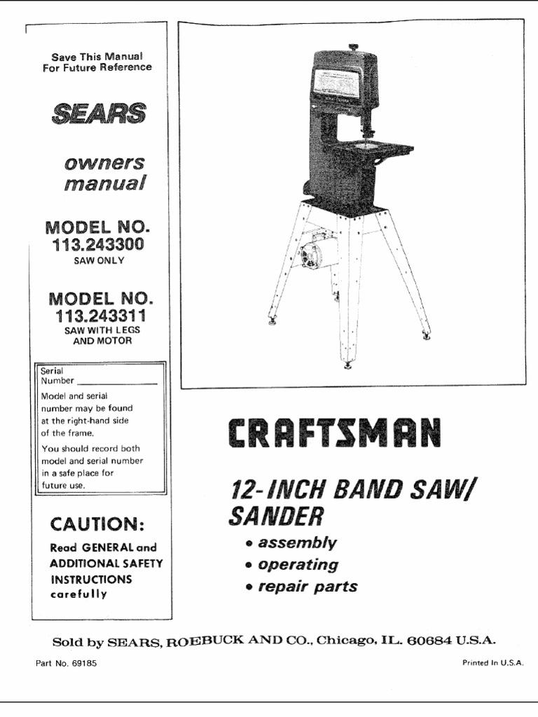Bandsaw Wiring Diagram Trusted Diagrams For Craftsman Circular Saw Band Diy Enthusiasts U2022 Reciprocating Parts