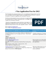 New Vietnam Visa Application Fees for 2012