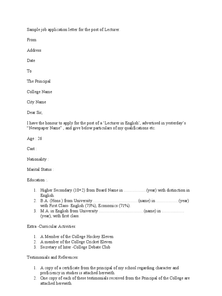 Sample Job Application Letter For The Post Of Lecturer