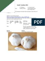 Garlic Varieties 2012