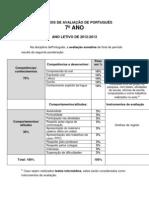 CRITÉRIOS DE AVALIAÇÃO DE PORTUGUÊS