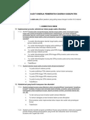 Contoh Audit Kinerja Dinas Pendidikan Audit Kinerja