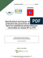 Specifications techniques relatives a la protection des personnes et des biens dans les installations photovoltaiques raccordees au reseau BT ou HTA