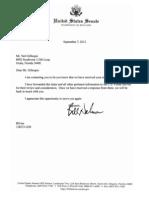 Reply From U.S. Sen. Bill Nelson, Postal Service, Sep-07-2012