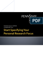Start Specifying Your Personal Research Focus