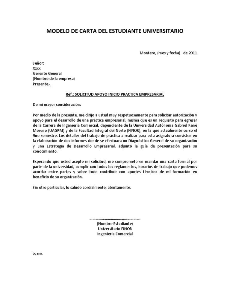 1 modelos de carta solicitud practica empresarial for Como hacer una propuesta para un comedor industrial