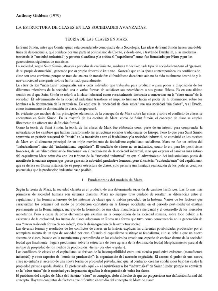 Resumen Anthony Giddens 1979 Teoría De Las Clases En Marx