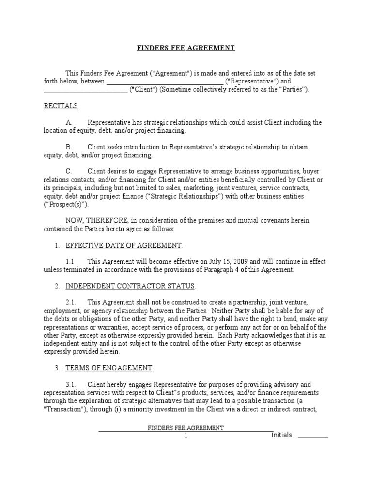 Finders Fee Agreement Sample Costs In English Law – Investors Agreement Template