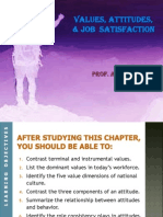 Chapter 3 - Attitudes, Values,Ethics & Job Satisfaction