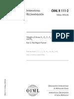 OIML R 111-2 2004 (E) Test Formats