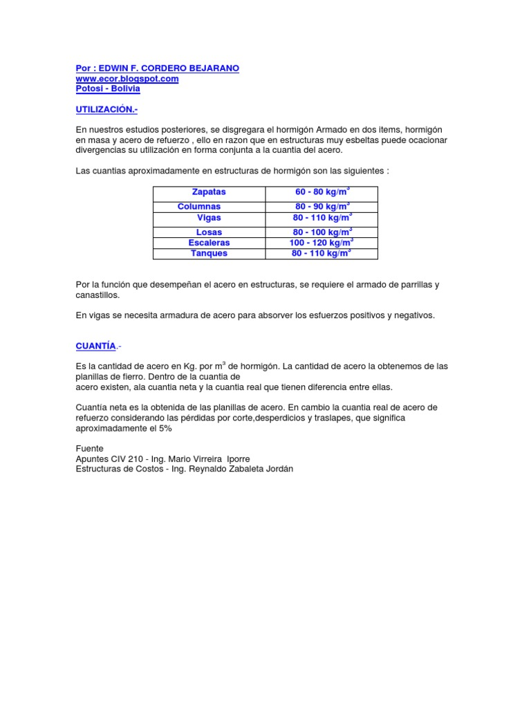 Precio Estructura Hormigon. Con La Estructura Metlica Y Uso De ...
