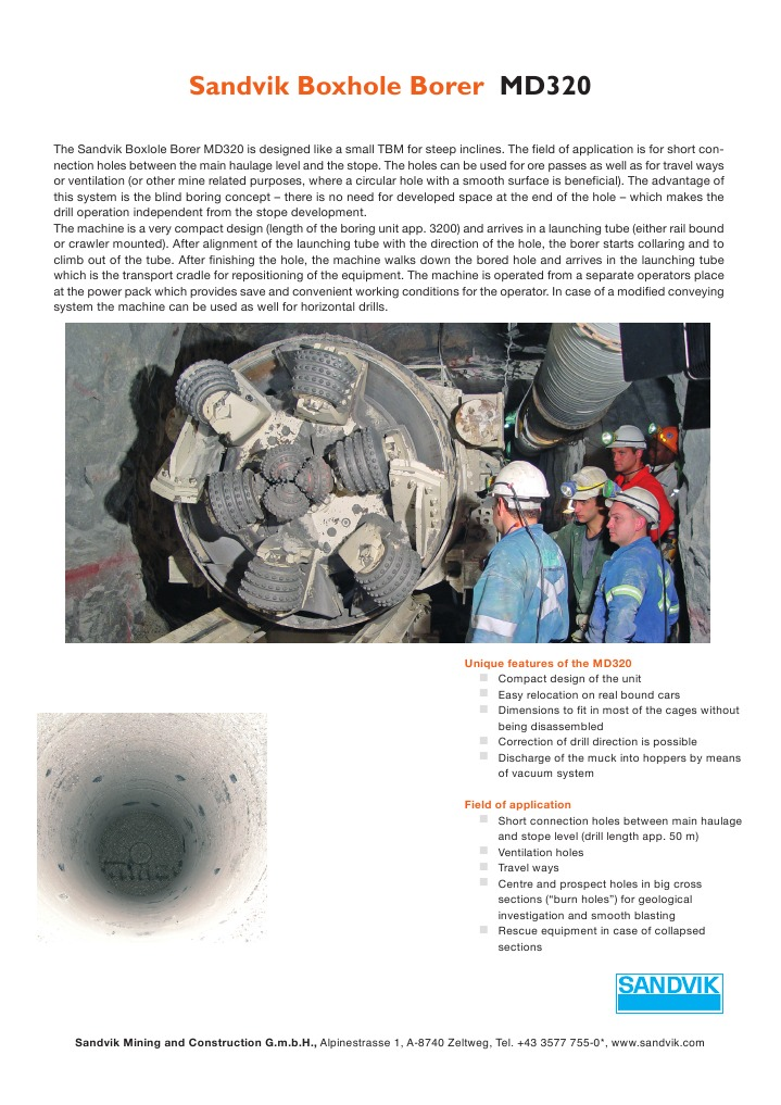 MD320 General Information | Mining | Drill