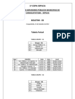 BOLETIM Nº 3 - 1ª Copa dos Servidores - 18 de setembro