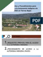 Requisitos y Procedimientos Para Acceder a La Autonomia Indigena via TIOC en Tierras Bajas de Bolivia