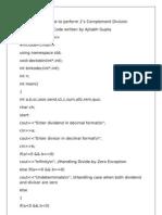 2's Complement Division C++ Program