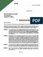 Eugene P Castagliuolo Response, Florida Bar Complaint Aug-30-2012