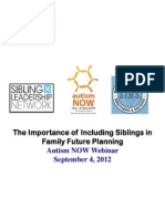 Sibling Leadership Network Webinar with Autism NOW September 4, 2012