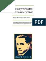 Vicios y Virtudes Latinoamericanas. Víctor Raúl Haya de la Torre. 1929