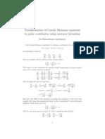 Transformation of Cauchy-Riemann equations to Polar coordinates using operator formalism