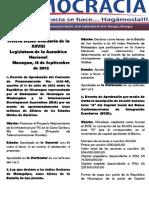 Barómetro Legislativo diario del martes, 18 de septiembre de 2012