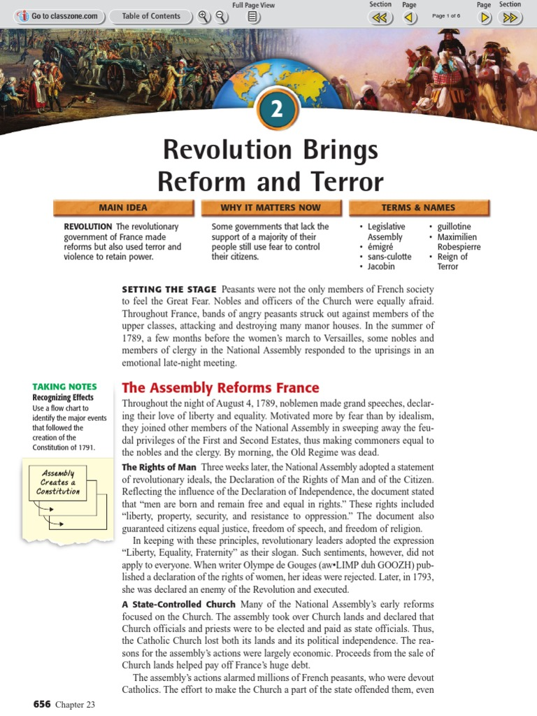 Ch 23 Sec 2 The Revolution Brings Reform and Terror