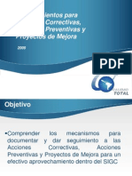 Procedimientos Para Acciones Correctivas y Preventivas