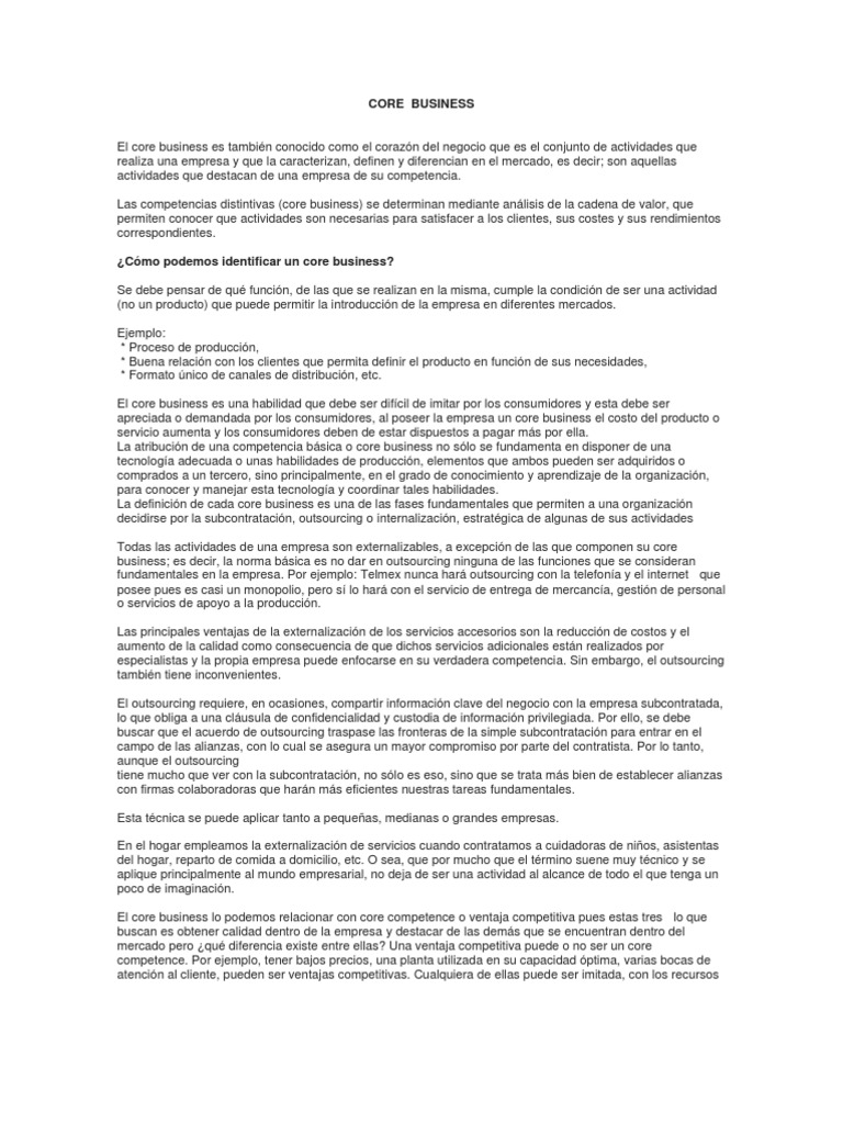 Core Business y Core Competence