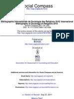 Bibliographie Internationale de Sociologie Des Religions 2010
