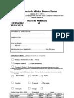 Matricula Oficial Curso 2012 - 2013
