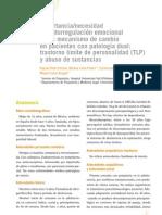 11. Importancia necesidad de autoregulación emocional como mecanismo de cambio en pacientes con patología dual trastorno límite de personalidad (TLP) y abuso de sustanc