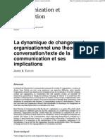 La dynamique de changement organisationnel une théorie conversation_texte de la communication et ses implications