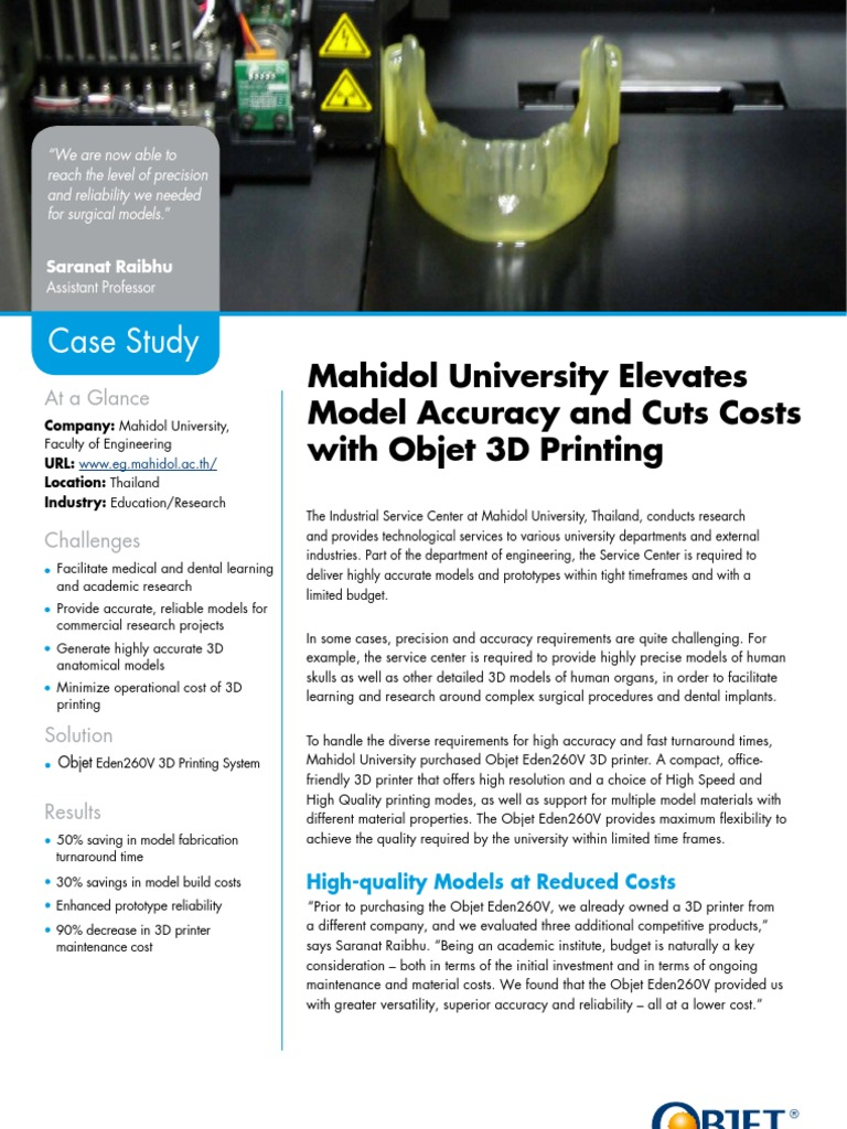 Mahidol University Case Study pdf | 3 D Printing | Technology