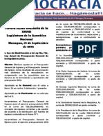 Barómetro Legislativo diario del miércoles, 19 de septiembre de 2012