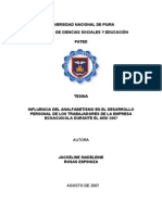 Influencia Del Analfabetismo en El Desarrollo Personal - Laboral de Los Trabajadores de La Empres