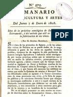 Idea de la práctica enológica de Sanlucar de Barrameda, ó del método que allí se sigue en la fabricación de los vinos (por D. Esteban Boutelou, 1808)