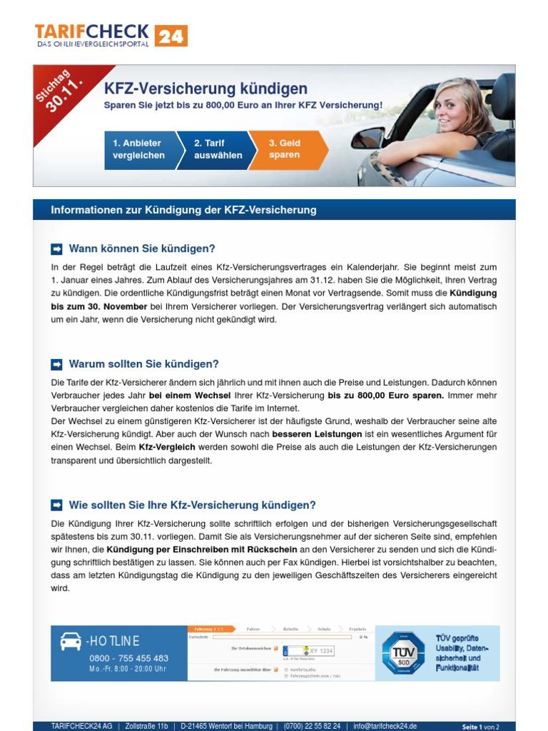 Informationen Zur Kuendigung Der Kfz Versicherung Tarifcheck24com