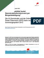 """""""Demokratie Reformkonvent per Bürgerbeteiligung"""" - IG Demokratie und OPÖ im neuwal Sommergespräch 2012 #nSG12 (1)"""