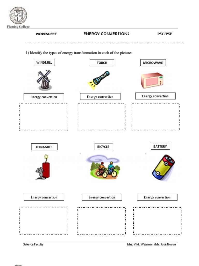 energy transformation worksheet - Boras.winkd.co