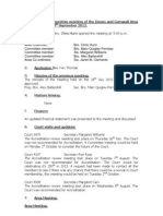 AOF Devon & Cornwall Committee Minutes 9th September 2012